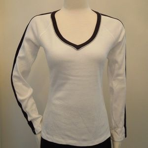 Beverly Hills Polo Club White V Neck Knit Top